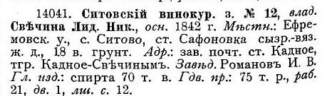 1910 год. Данные Ситовского завода.